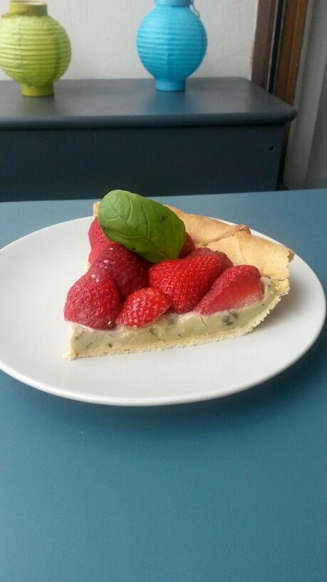 Tarte aux fraises crème au basilic.