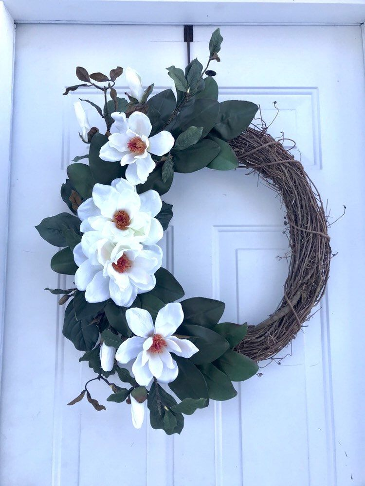 Photo of Magnolia Wreath, Spring Wreaths For Front Door, Mother's Day Wreath, Easter Wreath, Farmhouse Wreath