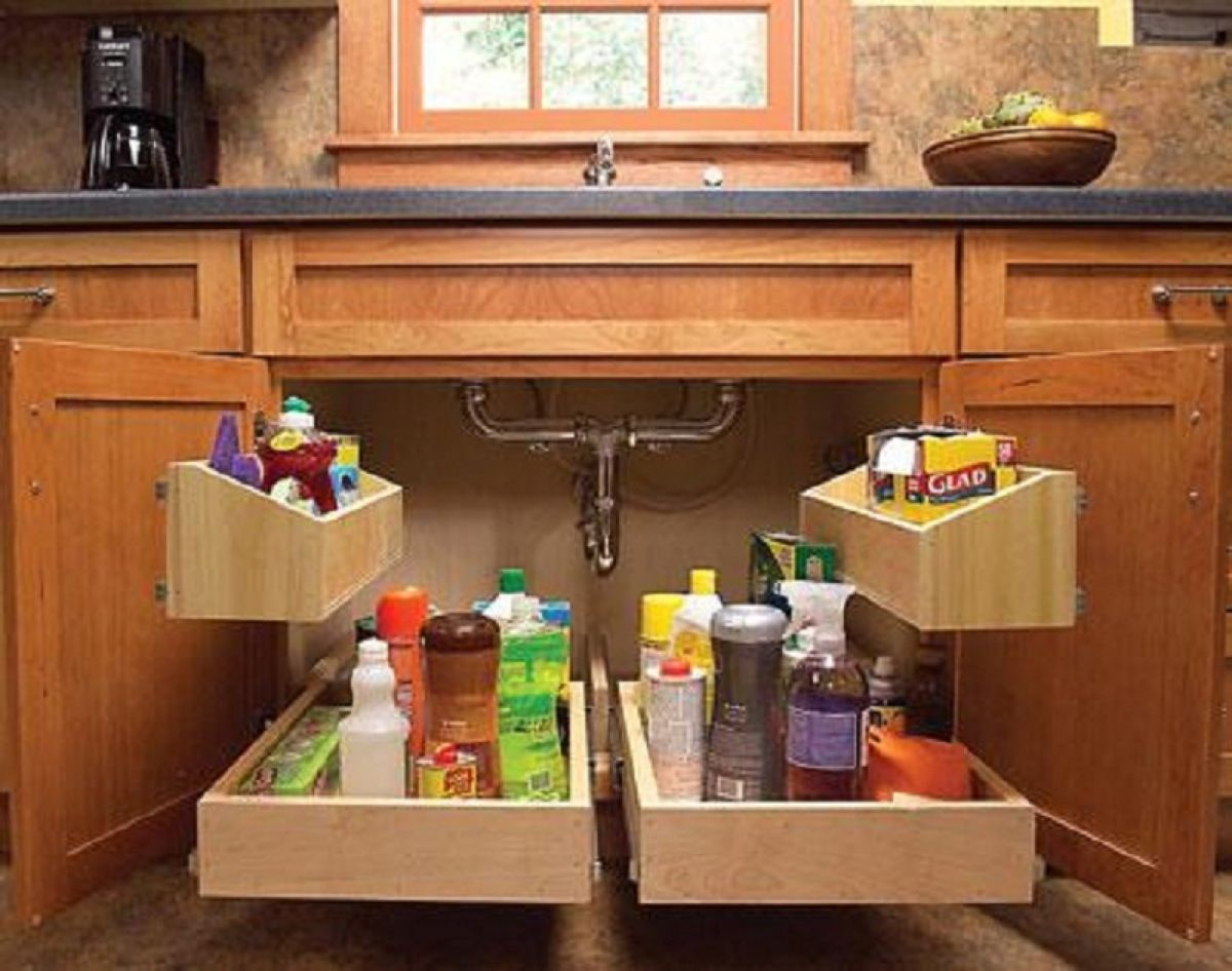 Behind the doors below the sink you can add handy storage units