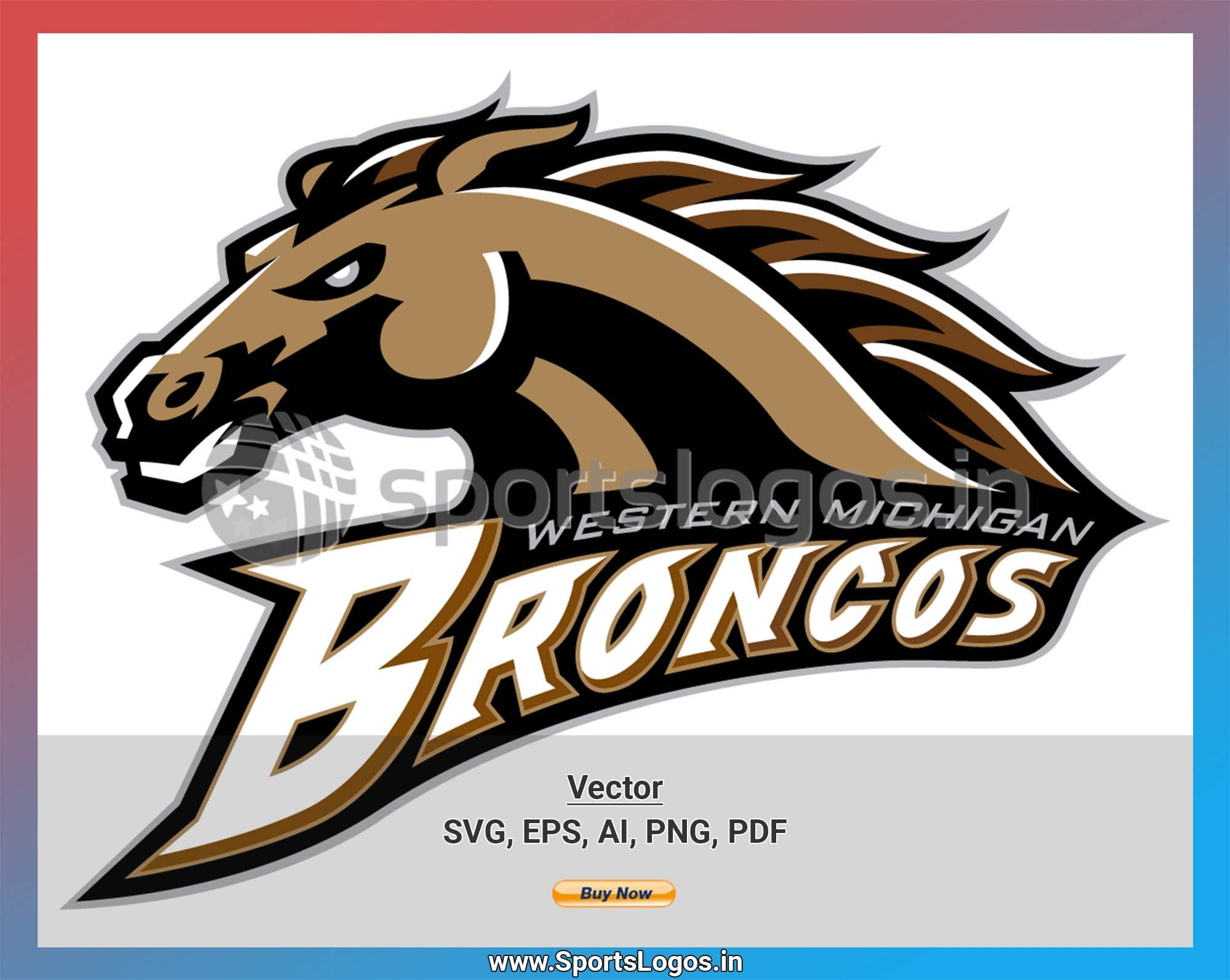 Western Michigan Broncos College Sports Vector Svg Logo In 5 Formats Spln004856 Sports Logos Embroidery Vector For Nfl Nba Nhl Mlb Milb And More Western Michigan Embroidery Logo College Sports