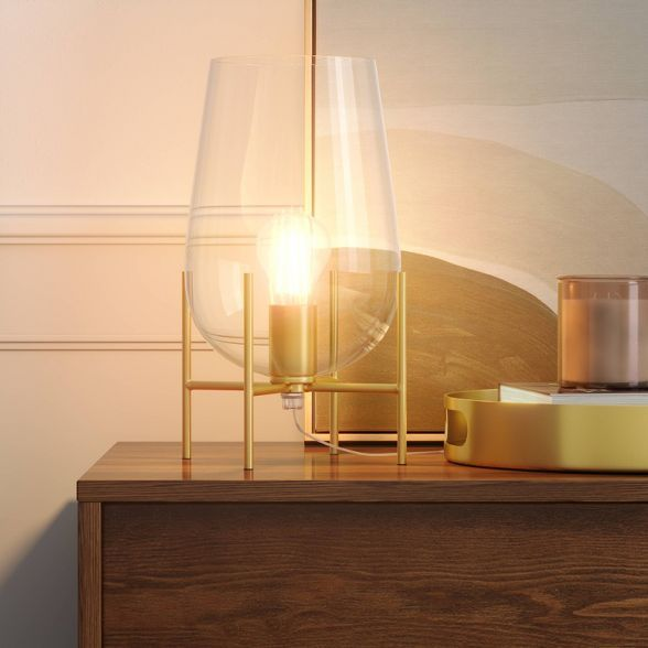 Glass Uplight Lamp (Includes LED Light Bulb) Brass - Project 62™ : Target