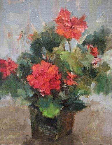 Red Garnet Geranium -  floral still life oil of geraniums, painting by artist Mary Maxam