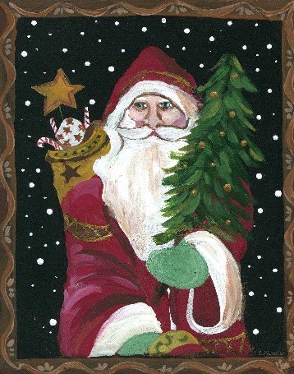 Primitive St. Nick Santa Claus Christmas Tree Toys Jolly Wall Art ...