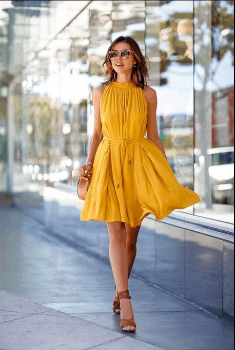 Yellow Beach Dress Evening Party
