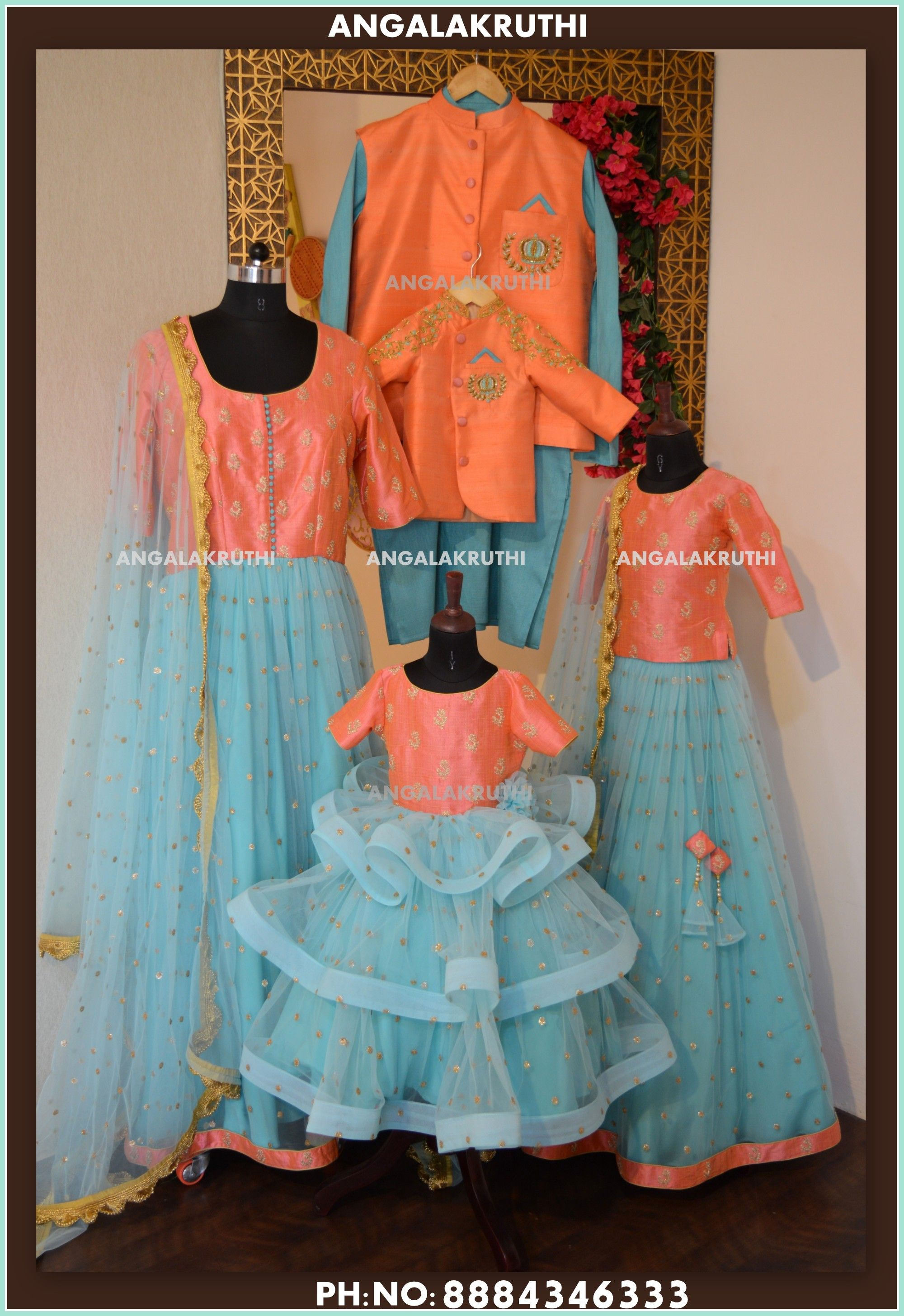 ce1cb63c9c Family matching dress designs in india by Angalakruthi boutique bangalore  mother and kid matching dress designs