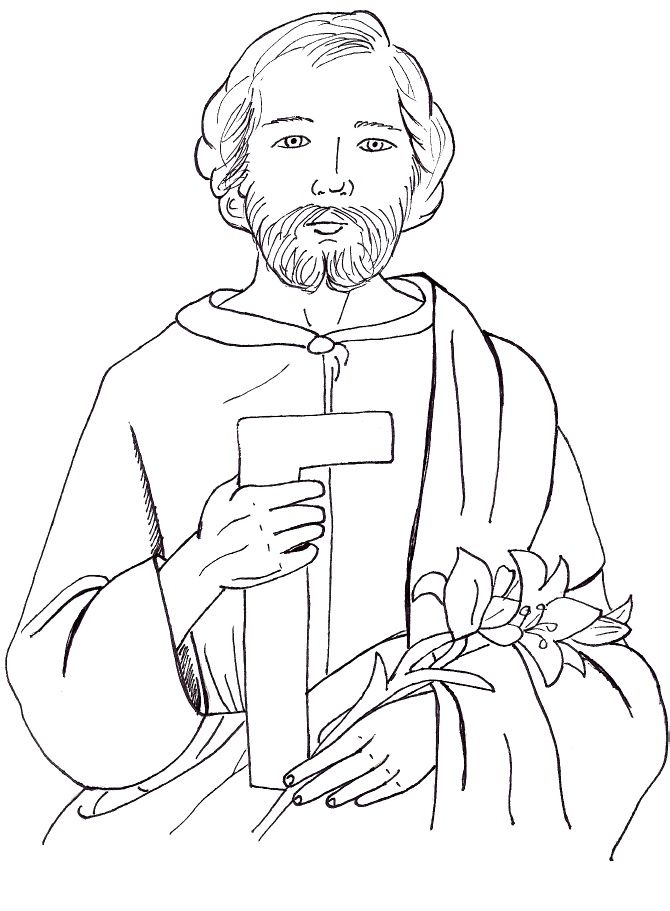 St Joseph The Worker Coloring Page C 2009 C M W All Coloring Pages Are My Own Artwork And Are Free For Any Fair Saint Joseph Art St Joseph Coloring Pages