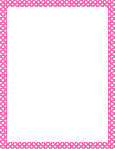 Printable hot pink and white polka dot border Free GIF JPG PDF – Free Paper Templates with Borders