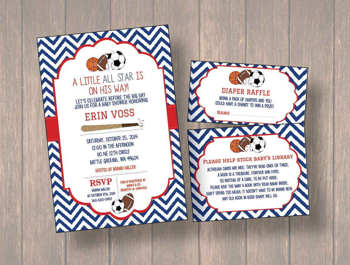 Baby Shower Invitation, DIY baby shower invitation, Sports theme ...