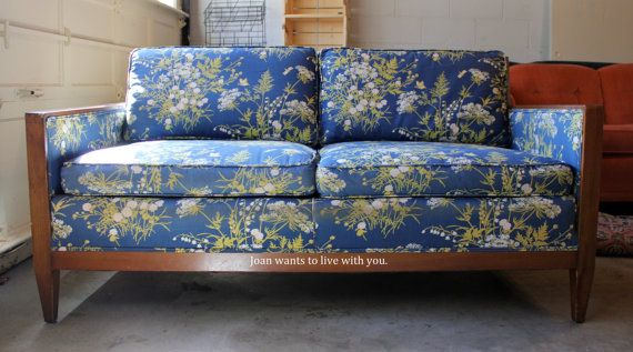 joan a mid century wood frame loveseat sofa in by smartyposh 19900 - Wood Frame Loveseat