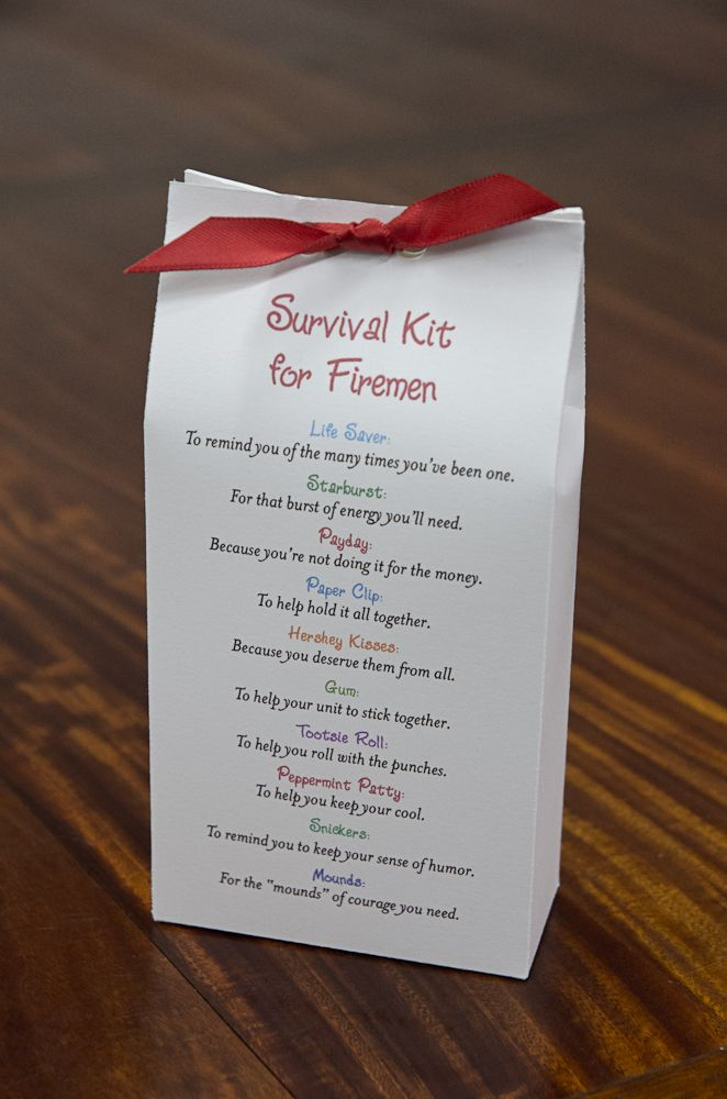 Survival Kit For Firemen Acts Of Love Gifts