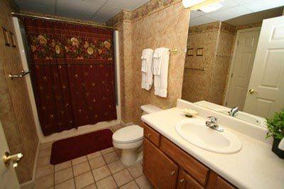 Condo 234-Spacious Bathrooms at Whispering Pines. #RPMCondos #WhisperingPines #PigeonForge #GSMNP #Vacation