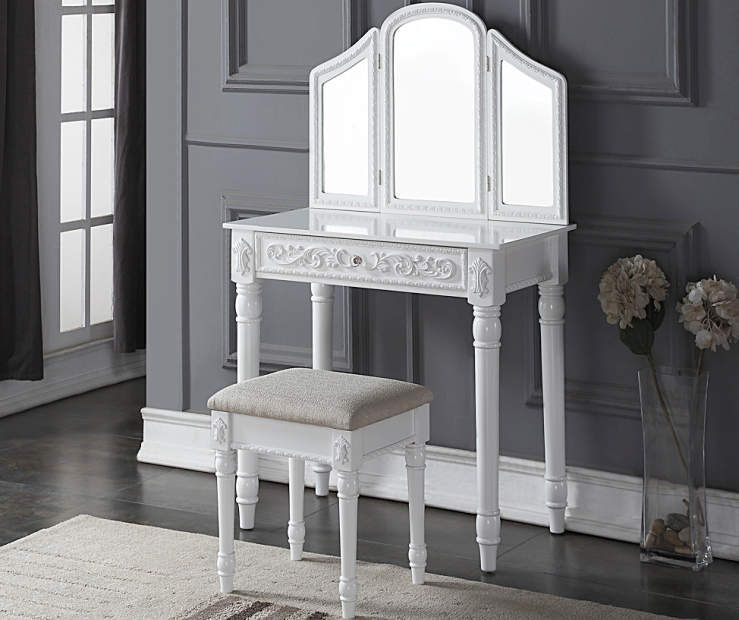 White Vanity Set with Tri-Fold Mirror | White vanity set ...