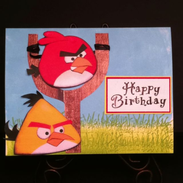 Happy Birthday Card With Angry Birds Cards Handmade Kids Cards Happy Birthday Cards