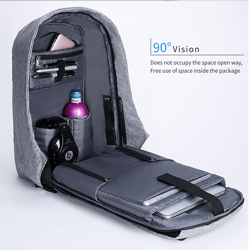 Men Women Anti-theft Laptop Notebook Backpack USB Charging /& Cable School Bag