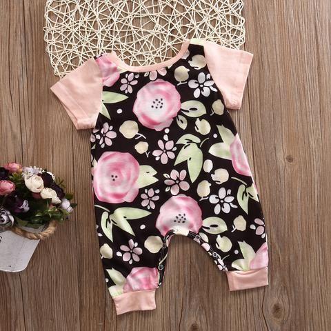 Black & Pink Floral Romper