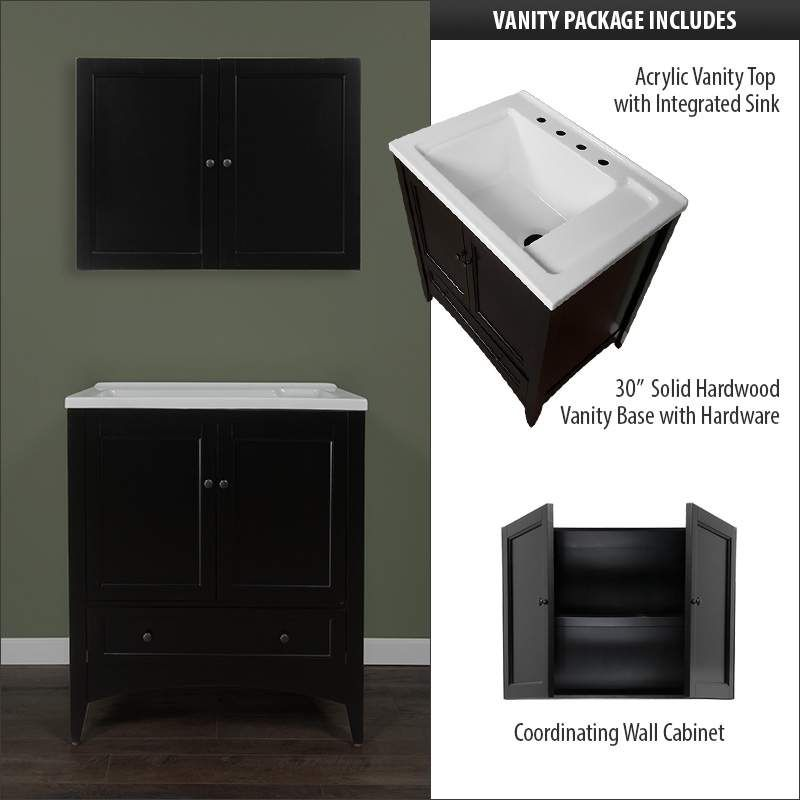 """View the Miseno MVBL3021 Bovio 30"""" Free Standing Vanity Set with Wood Cabinet, Acrylic Vanity Top with Integrated Laundry Sink and 30"""" Laundry Cabinet at Build.com."""
