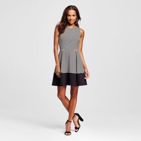 fefbb757e96 Women s Striped Ponte Fit And Flare Dress - Merona™   Target ...