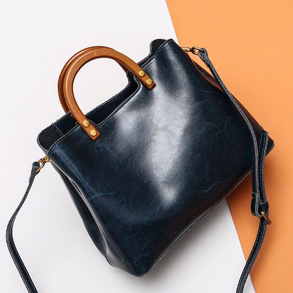 79c44035445f Oil-wax Genuine Leather Retro Handbag Shoulder Bag Shopping Crossbody Bags  For W - US.
