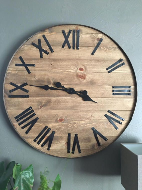 24 Large Wall Clock Father S Day Gift Father S Etsy Large Wooden Wall Clock Wall Clock Rustic Wall Clocks