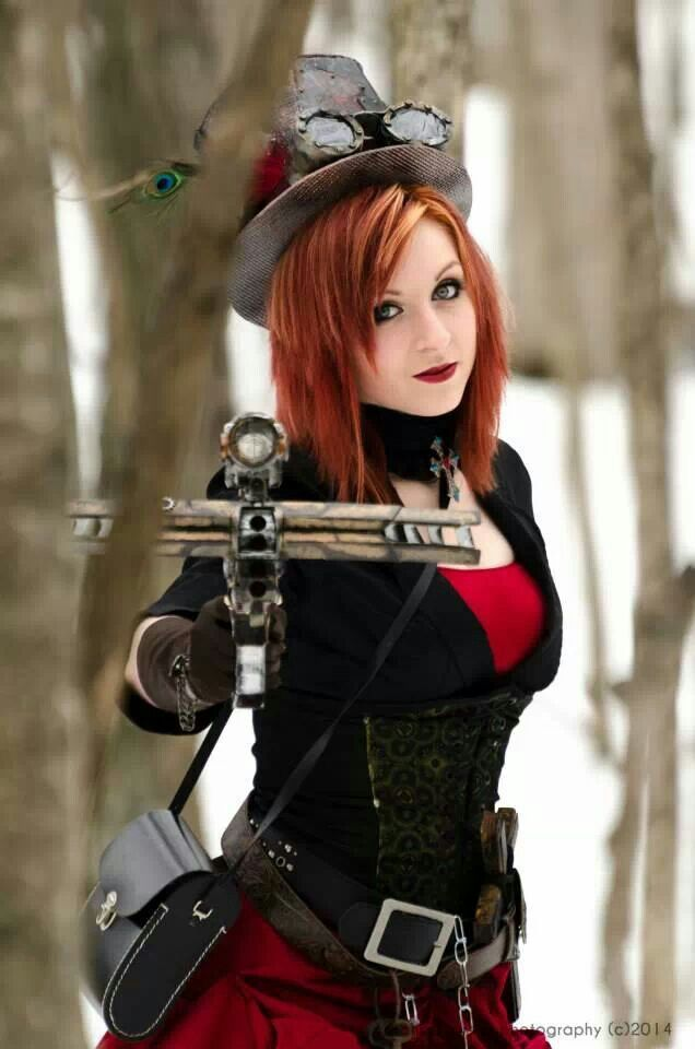 Steampunk Vampire Slayer cosplay outfit with nerf crossbow