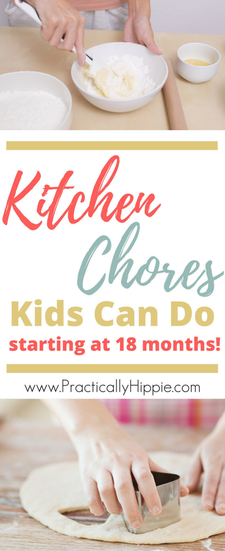 Free printable list of kitchen jobs for kids starting at 18 months. What can kids cook? So many options!