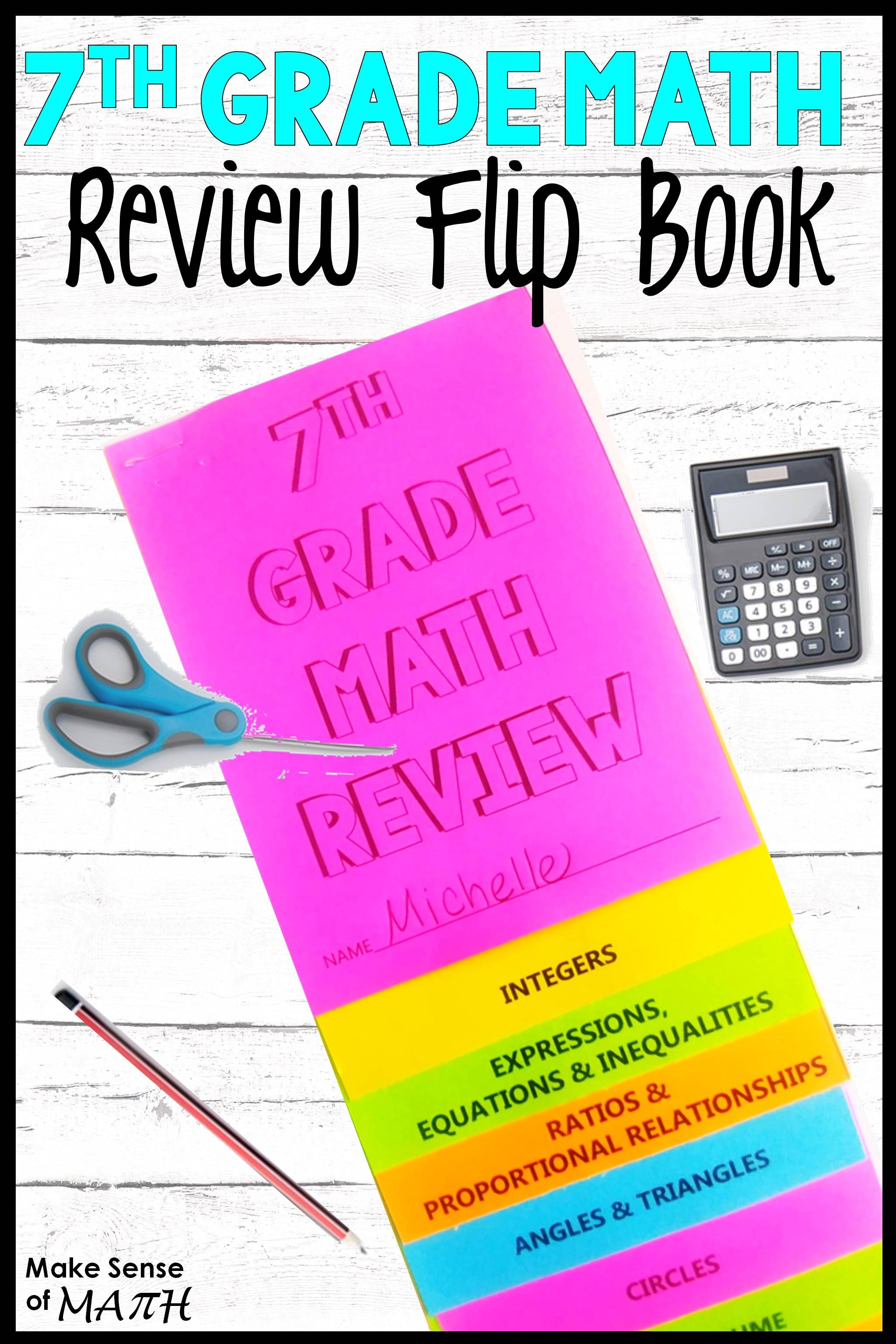 7th grade math review flip book 7th grade math math