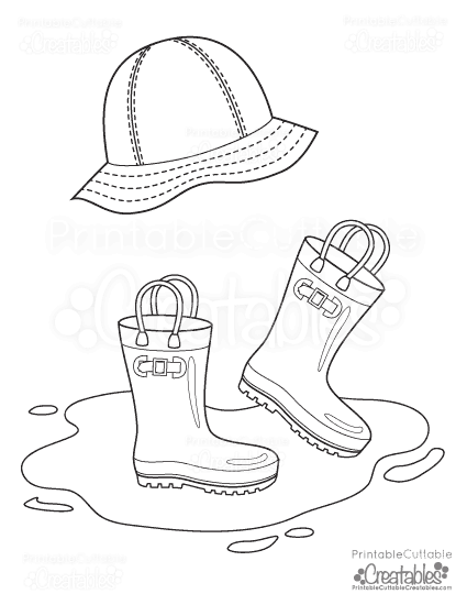 Rainboots Rain Hat Free Printable Coloring Page