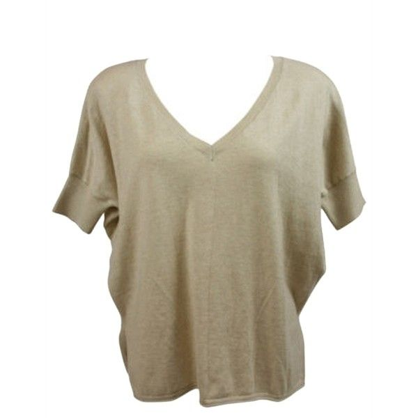 Pre-owned Minnie Rose Womens Sand Beige V Neck Short Sleeve Dolman... ($59) ❤ liked on Polyvore featuring tops, sweaters, short sleeve sweater, brown tops, minnie rose sweaters, beige top and vneck tops