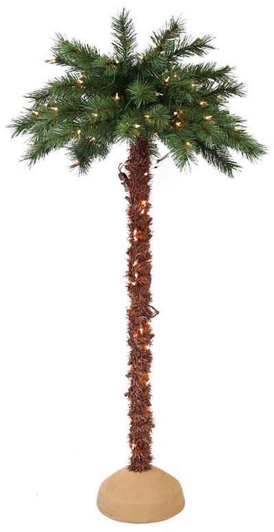 Puleo International Premium 4 Ft Pre Lit Artificial Palm Tree
