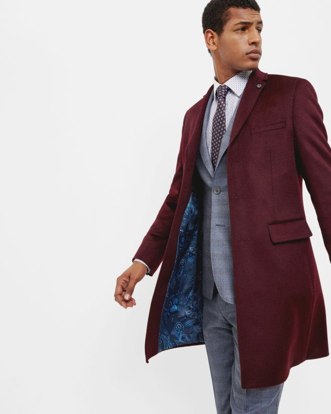 aa89e866b747d Three button overcoat - Dark Red