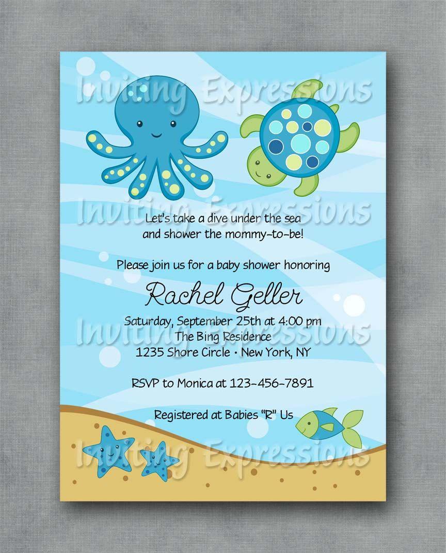 Under the sea blue baby shower invitations via etsy baby