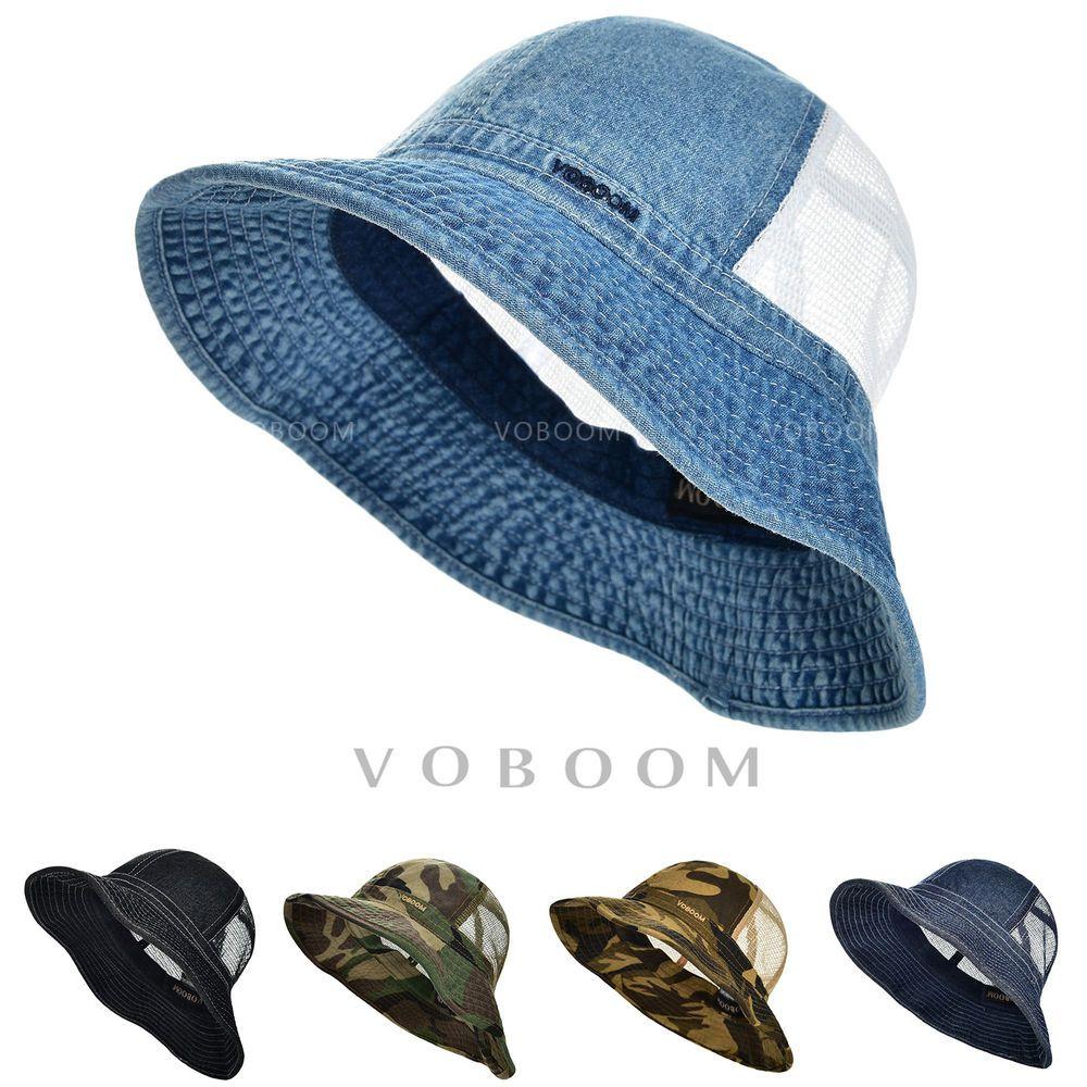 Vintage Mens Bucket Hat Wide Brim Fashion Camouflage Breathable Mesh Outdoor