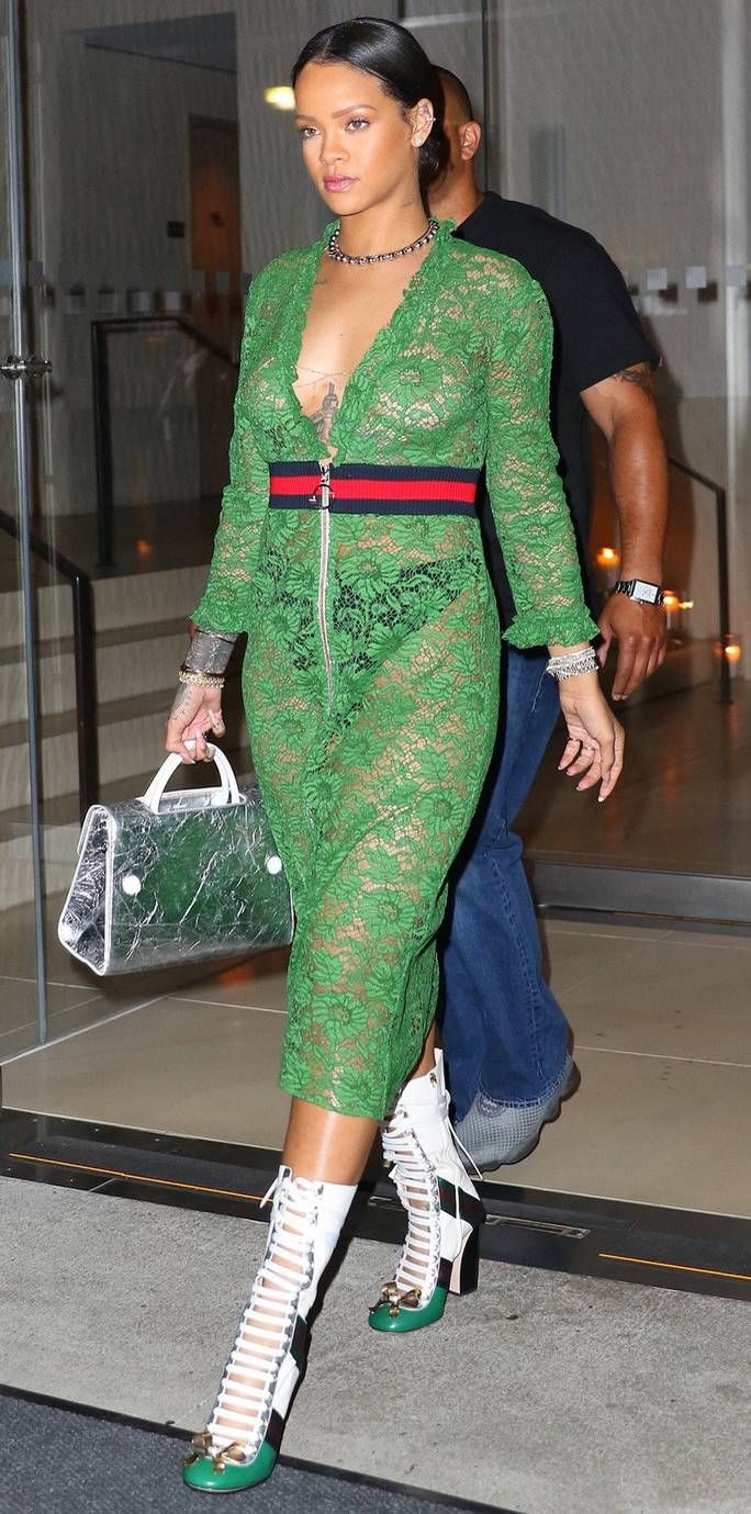 Green dress night out  Rihanna Wears a Super Sheer Gucci Dress and We Canut Look Away