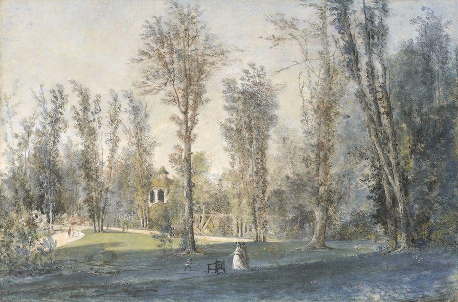 Louis gabriel moreau 1740 1806 vue du jardin de for Bagatelle jardin