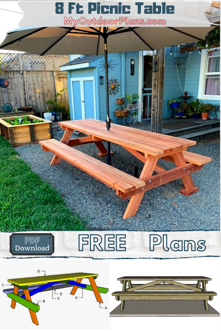 How To Build A 8 Ft Picnic Table In 2020 Picnic Table Plans Modern Farmhouse Diy House Construction Plan