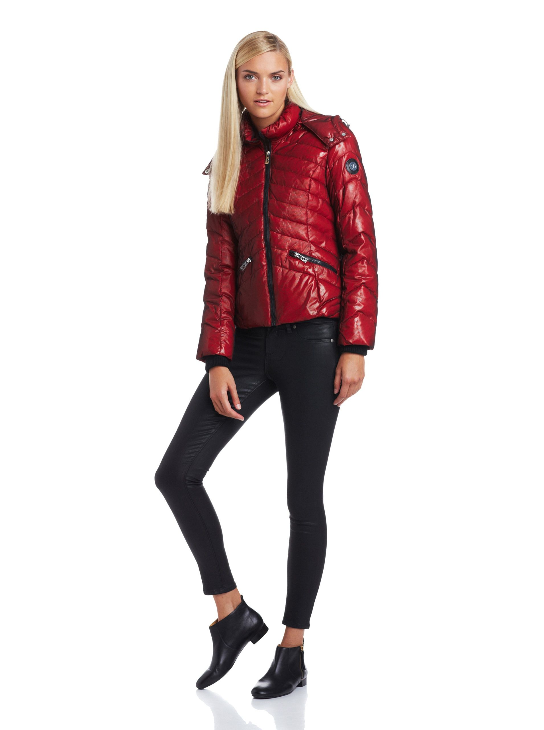 Buffalo David Bitton Women S Zip Up Puffer Oxblood Channel Quilted Coat With Shiny Mesh Overlay Zip Closure Stand Collar With Rem Puffer Women Quilted Coat [ 2560 x 1910 Pixel ]