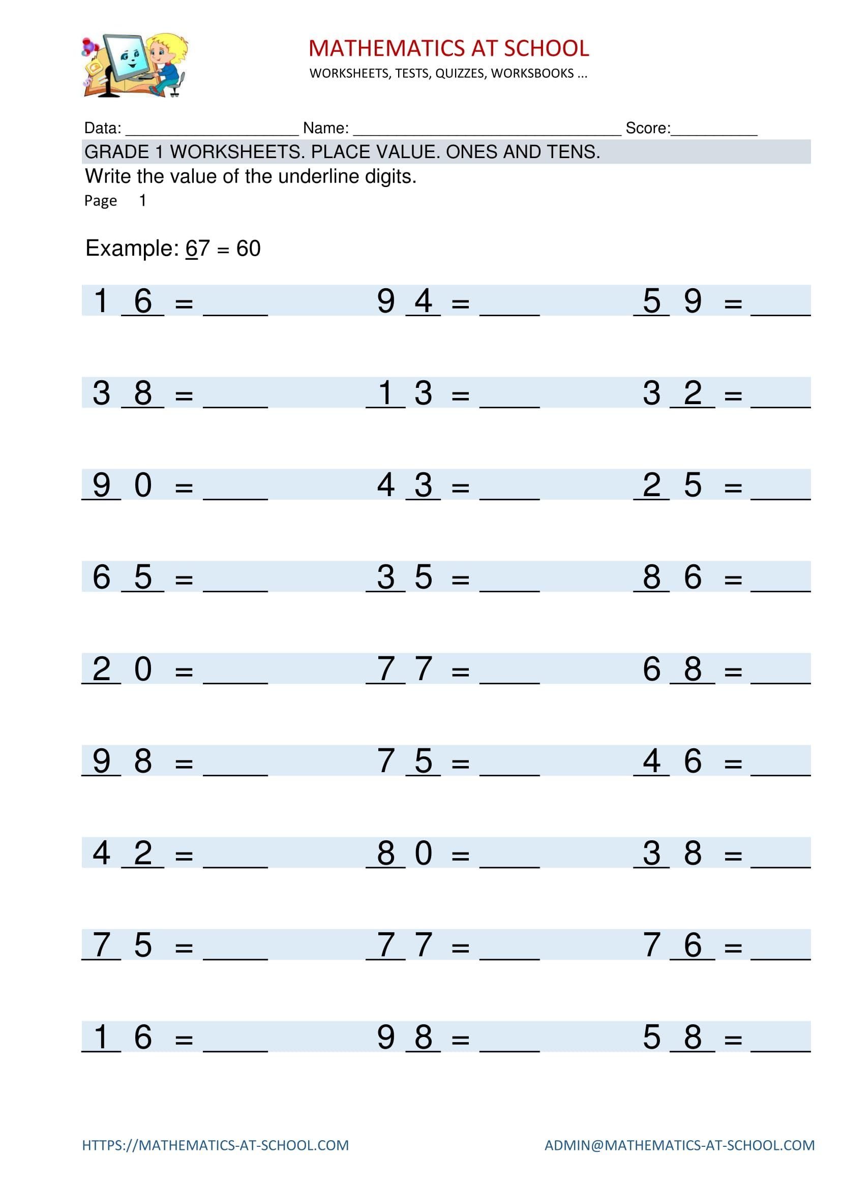 GRADE 1 WORKSHEETS Place value Identifying place value of
