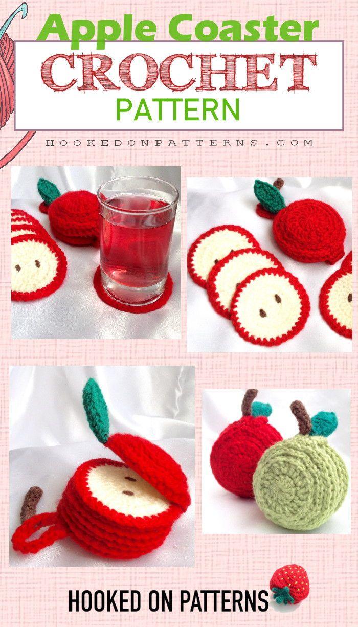 Apple Coaster Crochet Pattern - Sliced Set - Hooked On Patterns