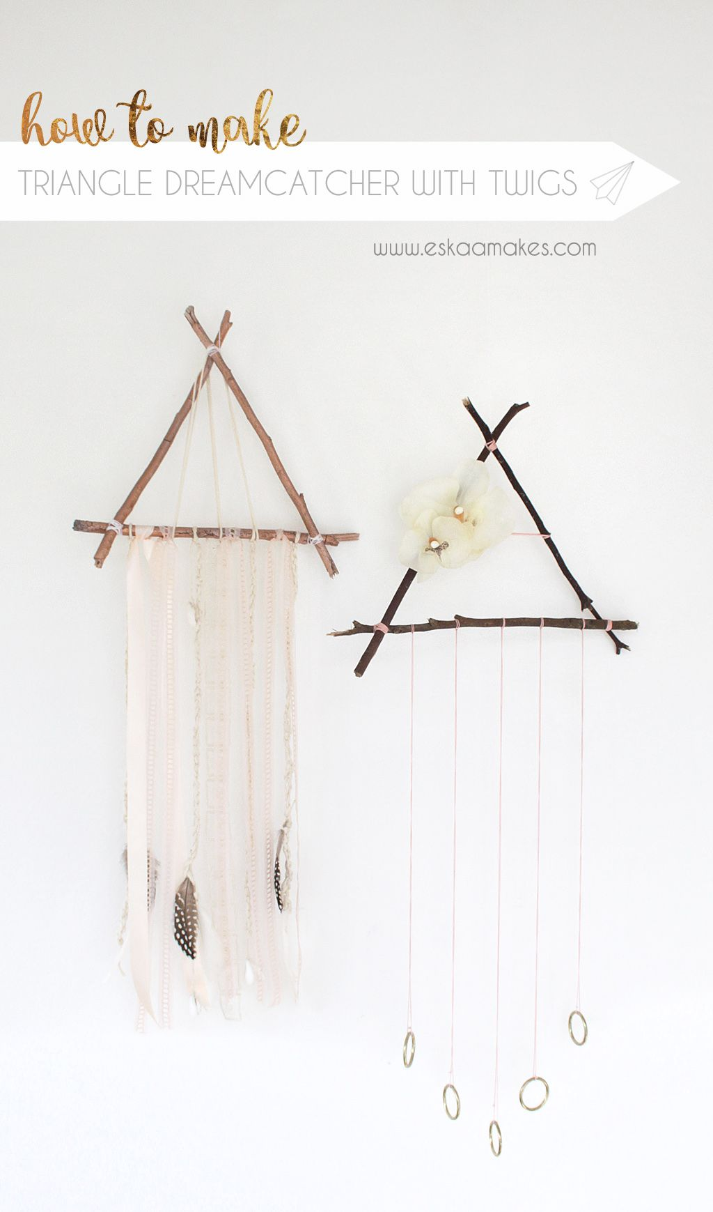 How to make: triangle dreamcatcher with twigs » [es.kaa.] makes