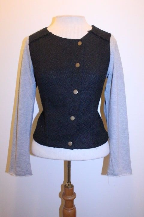 Monteau Coat M Black Gray Contrast Tweed Blend Button Front Moto Jacket #Monteau #Motorcycle