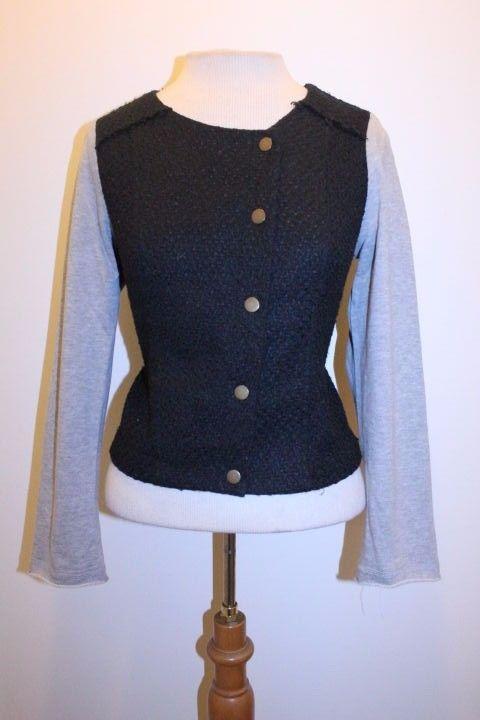 Monteau Coat M Black Gray Contrast Tweed Blend Button Front Moto Jacket #Monteau #Motorcycle