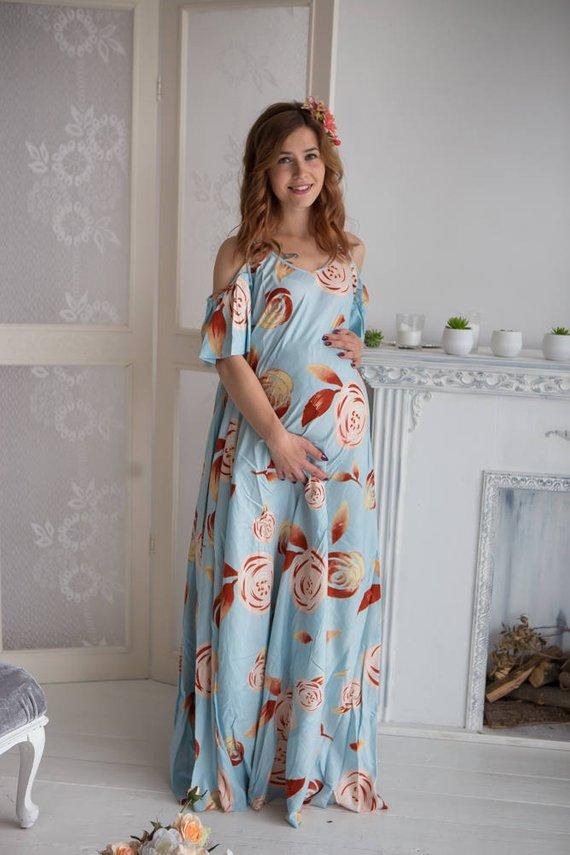 7a0ededea23 Light Blue Floral Maternity Maxi Dress