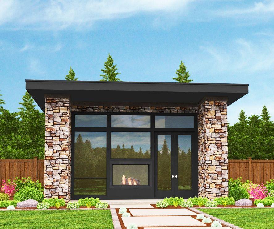 Plan 85105MS: Tiny Modern House Plan with Lanai in 2020 ...