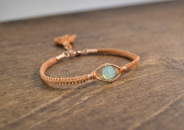 Aqua Chalcedony 14k Rose Gold and Silk Gemstone Macrame Bracelet
