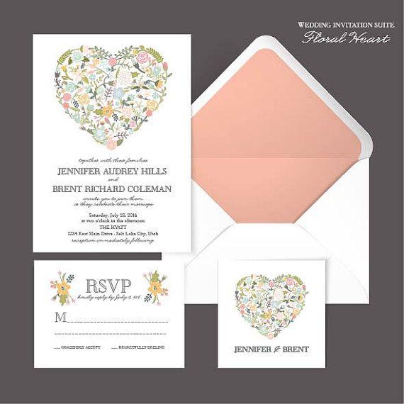 Floral Heart DIY Wedding Invitation Suite by AffordableDIYWedding