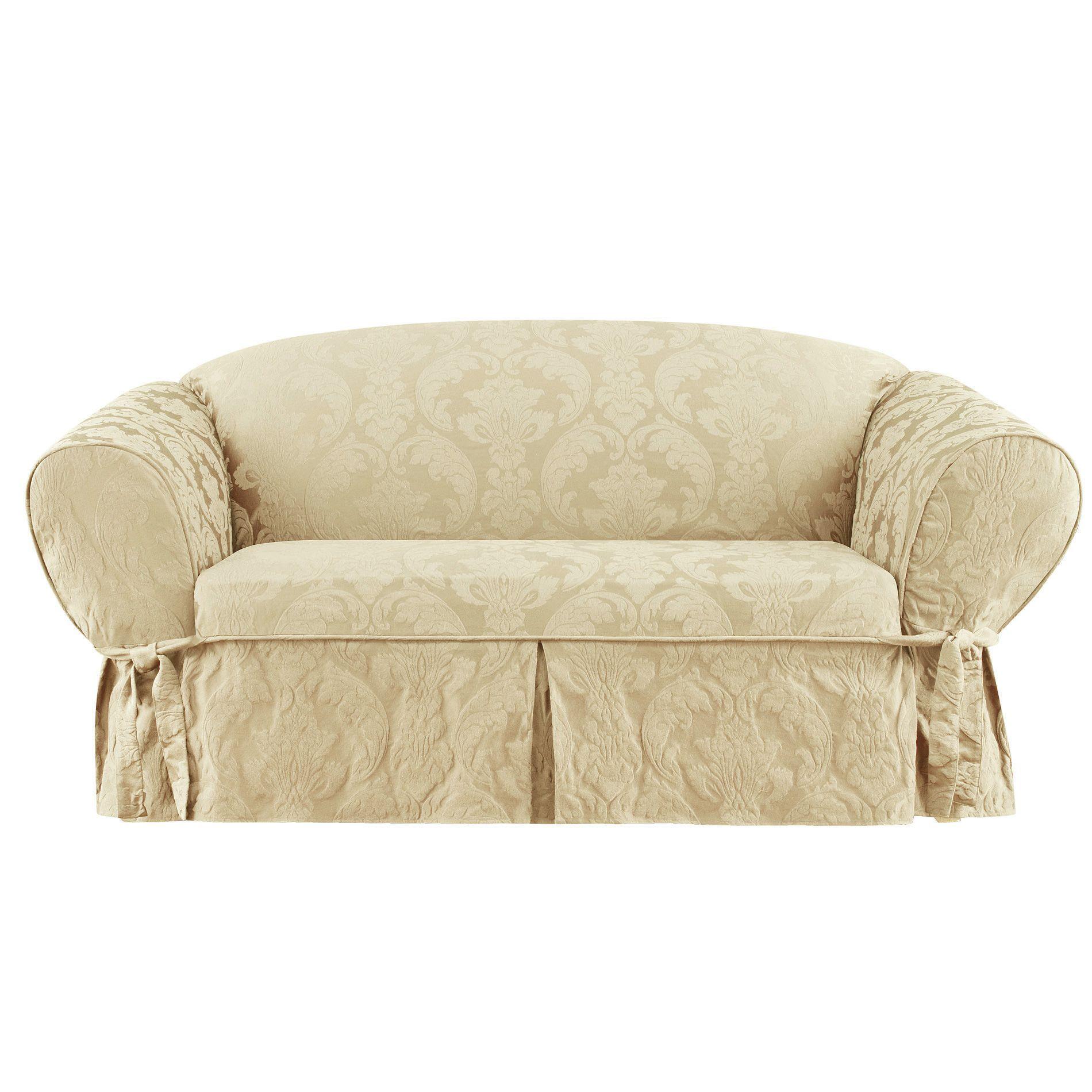 Sure Fit Matelasse Damask Loveseat Slipcover Loveseat Slipcovers Love Seat Furniture Slipcovers