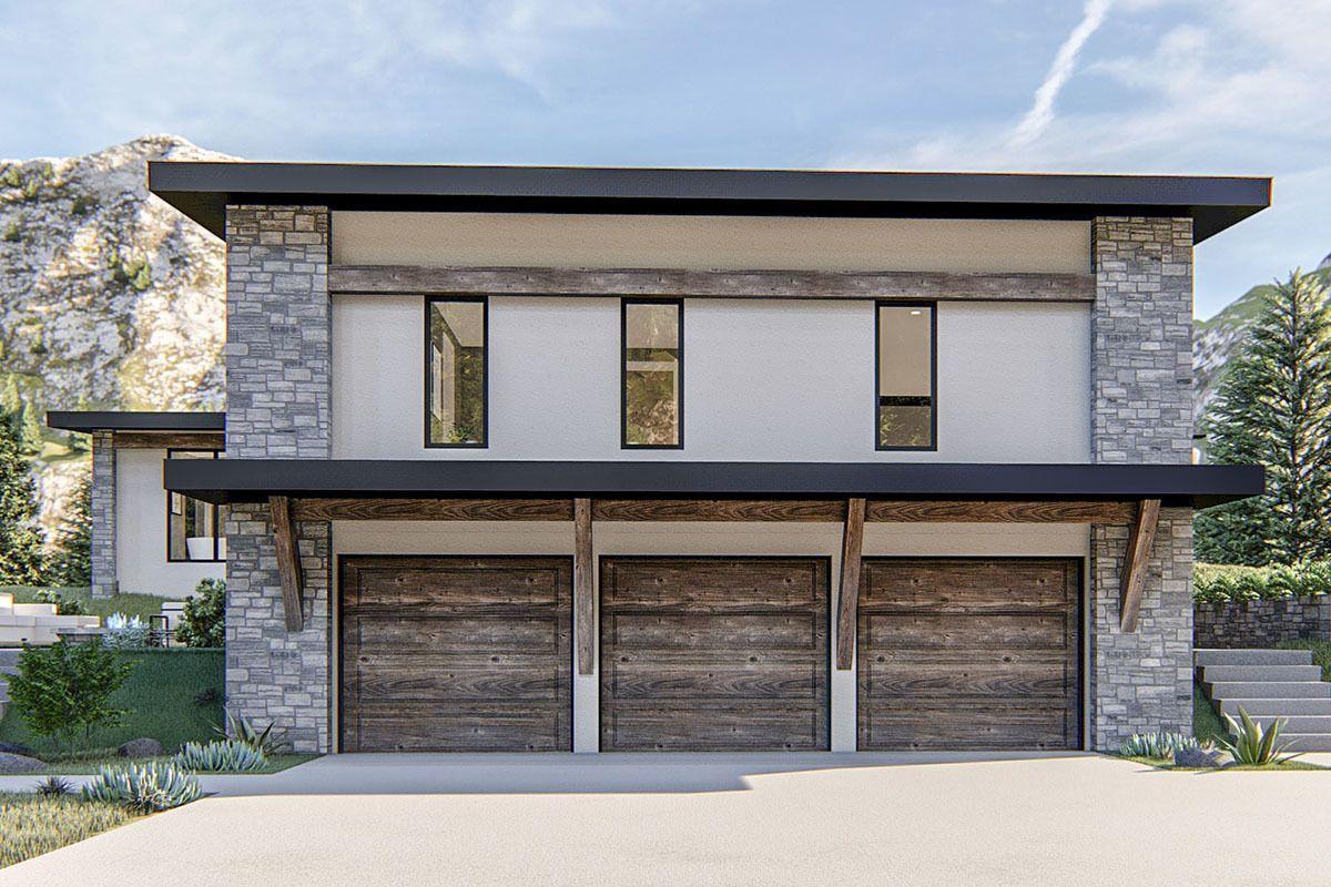 Plan 62801dj Exclusive Modern Home Plan With Courtyard And Drive Under Garage Garage Door Design Modern House Plans Garage House Plans
