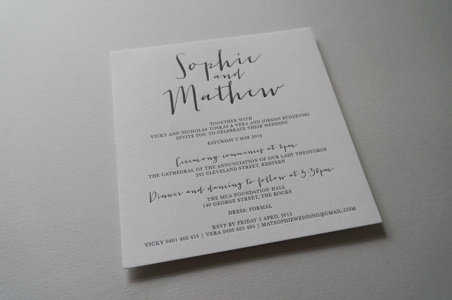 Letterpress Invitations Black D D L E T T E R P R E S S