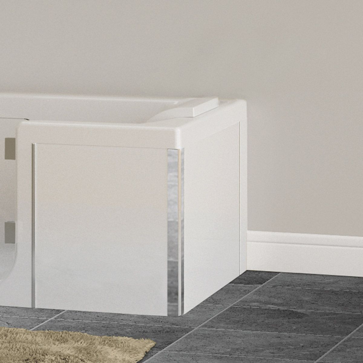 Kineduo white glass end panel 750mm Shower panels