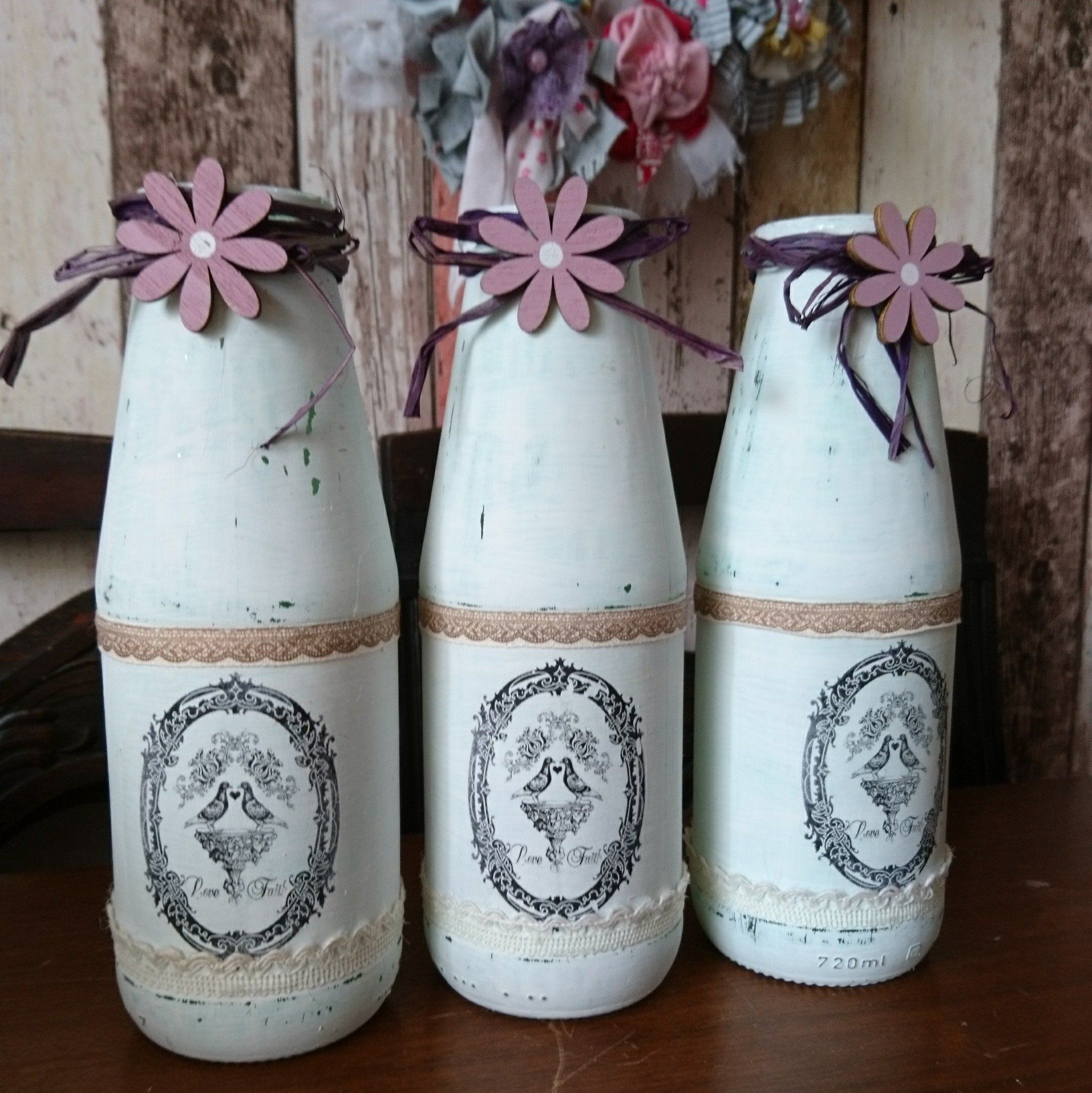 Milchflaschen Deko Set 3x Shabby Chic Bottles Deco Vase Vintage Romance Table Décor